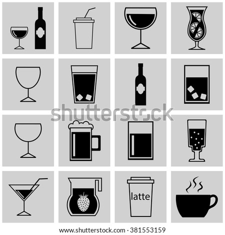 Set of simple vector icons drinks