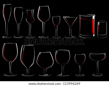 Set of simple vector illustration different wineglasses and glasses, filled with wine on a black background (in the dark) with shine and reflections(isolated on black). - stock vector