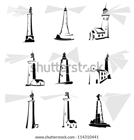 Set of simple vector illustrations: stylized black and white lighthouse icons. - stock vector