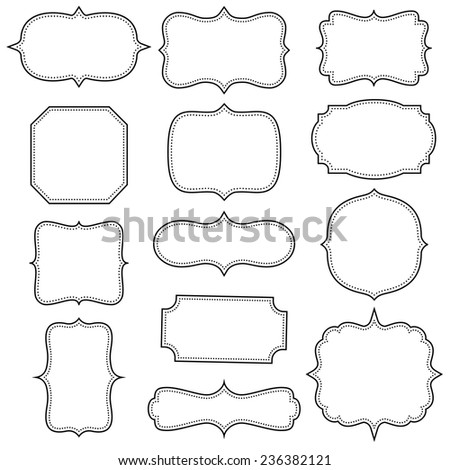 Set of simple vintage frames - stock vector