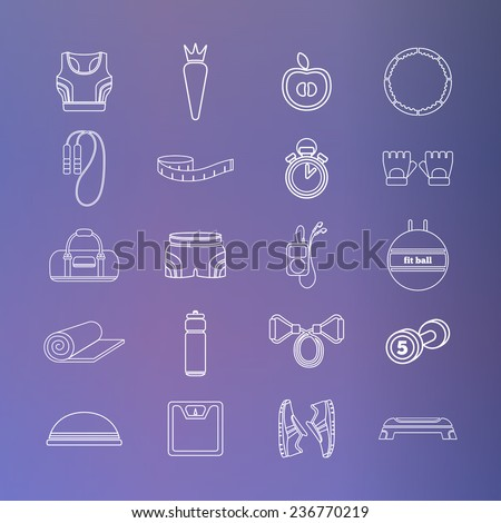 Set of simple white fitness thin line icons for girls. Vector illustration of sport symbols in flat style on the gradient background - stock vector