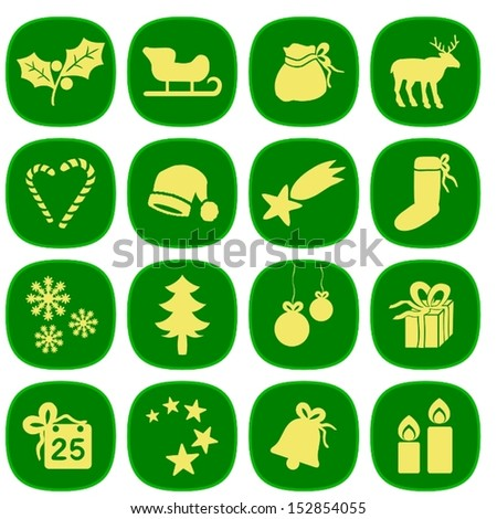 Set of simple xmas icons in green and gold colors. This is a vectorial image, can be resized without loss of quality. - stock vector