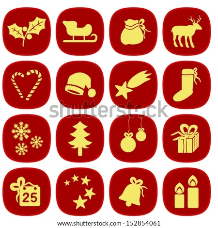 Set of simple xmas icons in red and gold colors. This is a vectorial image, can be resized without loss of quality. - stock vector