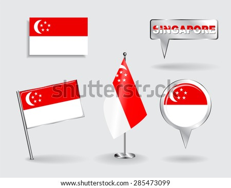 Set of Singapore pin, icon and map pointer flags. Vector illustration. - stock vector