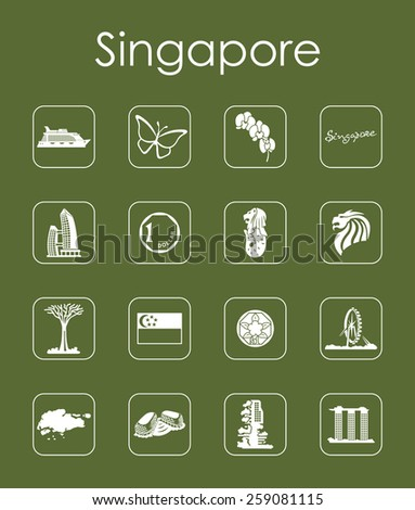 Set of Singapore simple icons - stock vector