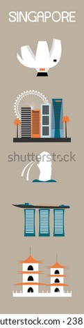 Set of Singapore symbols. Vector - stock vector