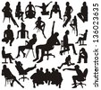 Set of sitting people silhouettes. Vector illustration. - stock vector