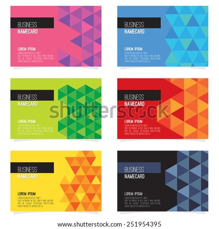 Set Of Six Abstract Name Card Vector Illustration - stock vector