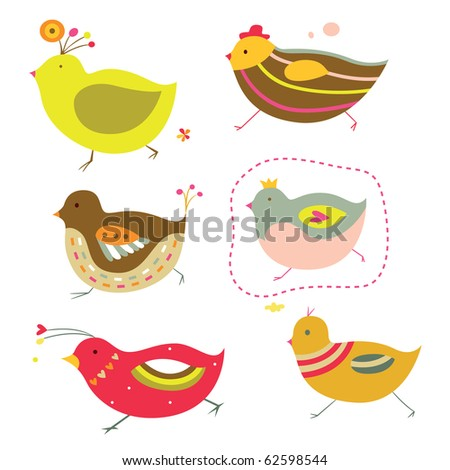 Set of six adorable chicks with bright colors and simple shapes. - stock vector