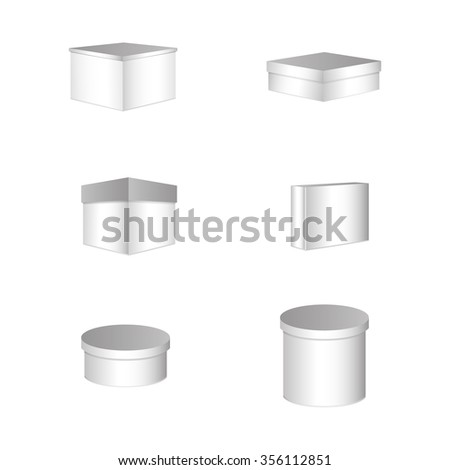 Set of six boxes on a white background - stock vector