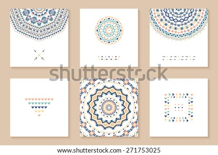 Set of six cards with ethnic design. Stylish tribal geometric backgrounds. Templates for invitations, postcards with aztec ornaments. Vector illustration. - stock vector