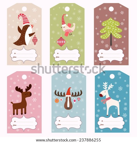 Set of six Christmas gift tags (vector template)