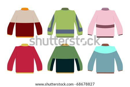 set of six color sweaters - stock vector