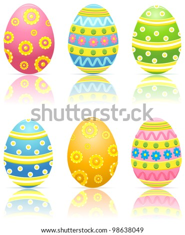 Set of six colorful decorated Easter eggs, illustration - stock vector