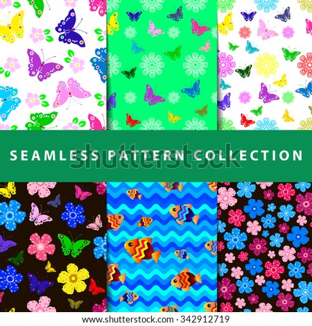Set of six colorful seamless pattern. Hand drawn background. Vector illustration.