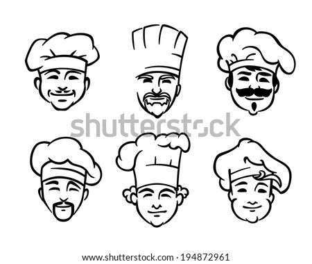 Set of six different black and white doodle sketch chef or cooks heads with smiling faces wearing the traditional white toque or hat - stock vector