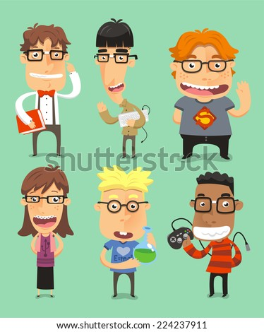Set of six different nerds in geek situations, with book, computer, super geek, super geek girl, with test tube and with game vector illustration. - stock vector