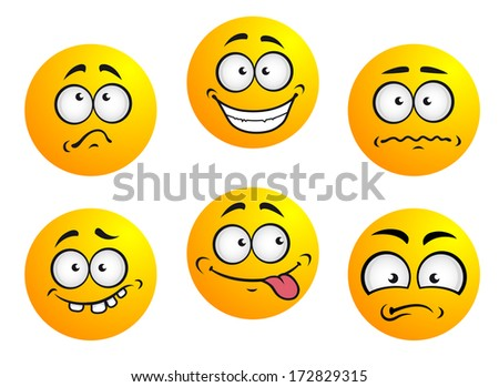 Set of six  emoticons showing facial expression depicting happiness, sadness, bashful, nonplussed, embarrassed, tongue out and toothy - stock vector
