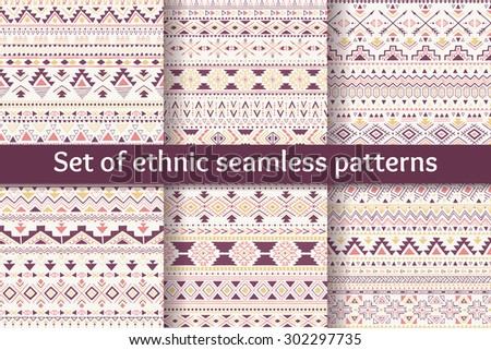 Set of six ethnic seamless patterns. Aztec geometric backgrounds. Sketch style. Stylish navajo fabric. Modern abstract wallpaper. Vector illustration. - stock vector