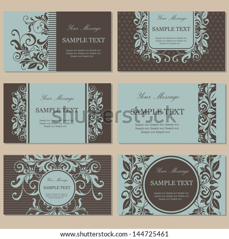 Set of six floral business cards. - stock vector