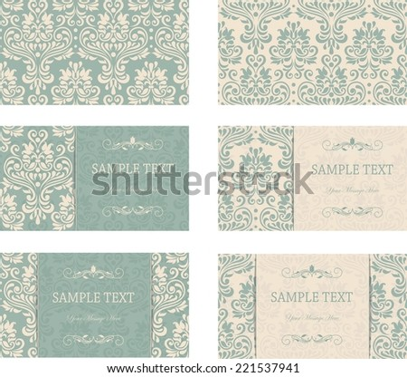 Set of six floral business cards in green and beige  - stock vector