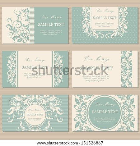 Set six floral vintage business cards stock vector 151526867 set of six floral vintage business cards invitations or announcements reheart Choice Image