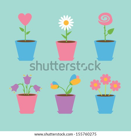 Set of six flowers in pots. Blue background. Card. Vector illustration.