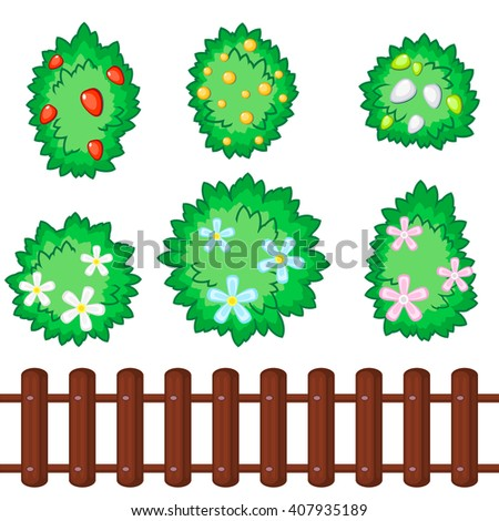 Set of six fluffy bushes with flowers and berries and seamless wooden fence - stock vector