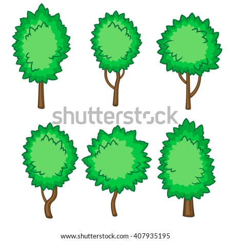 Set of six fluffy young trees isolated over white - stock vector