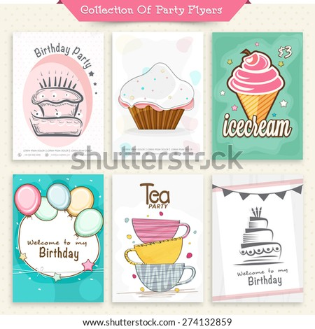 Set of six Flyers or Invitation Cards for Party celebration. - stock vector