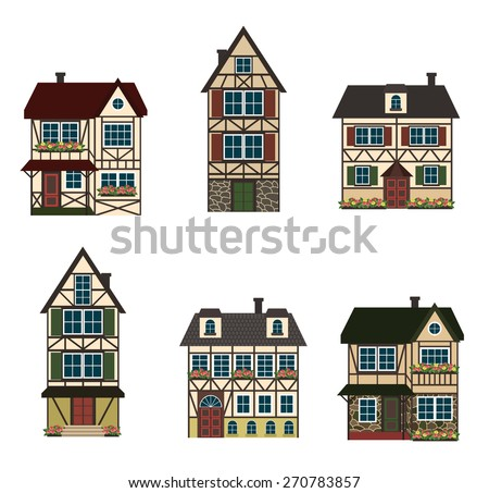 Set Six German Houses Vector Illustration Stock Vector