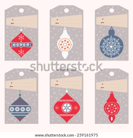 Set of six gift tags with Christmas balls (vector template) - stock vector