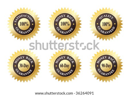 Set of Six Gold Seals of Approvals (Quality, Satisfaction and Money Back Guarantee) - stock vector