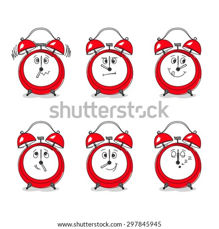 Set of six hand-drawn red clocks with funny faces instead of clock faces. Specific time of day has?? specific emotion on face. Mood during work day concept - stock vector