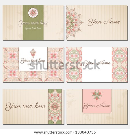 Set of six horizontal business cards. Oriental pattern and old paper, strips and stains.. Complied with the standard sizes. - stock vector