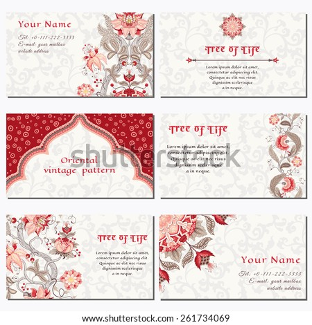 Set of six horizontal business cards. The motives of the paintings of ancient Indian fabrics. Tree of Life collection. Place for your text. - stock vector