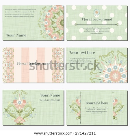 Set of six horizontal business cards. Vector floral pattern with canvas texture. Beautiful floral pattern in vintage style. Place for your text. - stock vector