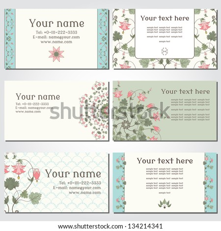Set of six horizontal business cards. Vintage pattern in modern style with aquilegia plants. Complied with the standard sizes. - stock vector
