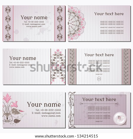 Set of six horizontal business cards. Vintage pattern in modern style with cyclamen plants and cicadas. Old paper, strips and stains. Complied with the standard sizes. - stock vector