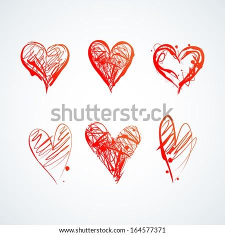 Set of Six Ink Elegant Hearts - stock vector