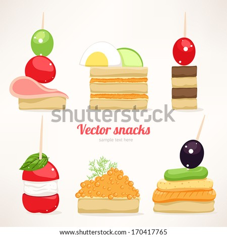 Set of six kinds of festive snacks. canapes.  - stock vector