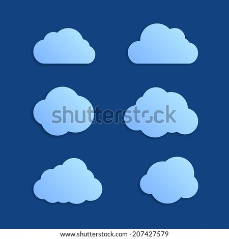 Set of six light blue blank clouds icons for messages or web. Different form, isolated on dark blue background . Vector illustration, EPS 10.