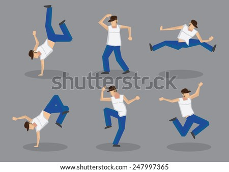 Set of six male hip hop dancers in funky dance moves. Vector icons isolated on grey background. - stock vector