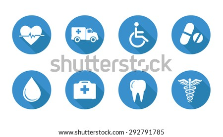 set of six medical icons, health - stock vector