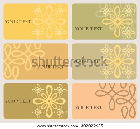 Set of six multicolored cards with rounded corners decorated with beautiful elegant pattern. Nice warm colors. Vector illustration - stock vector