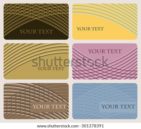 Set of six multicolored cards with rounded corners decorated with elegant pattern of gently curving lines. Vector illustration - stock vector