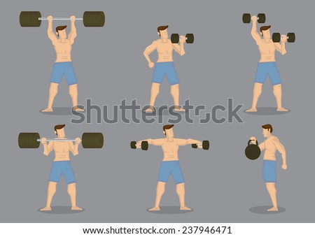 Set of six muscular man doing weight lifting with training equipment isolated on grey background - stock vector