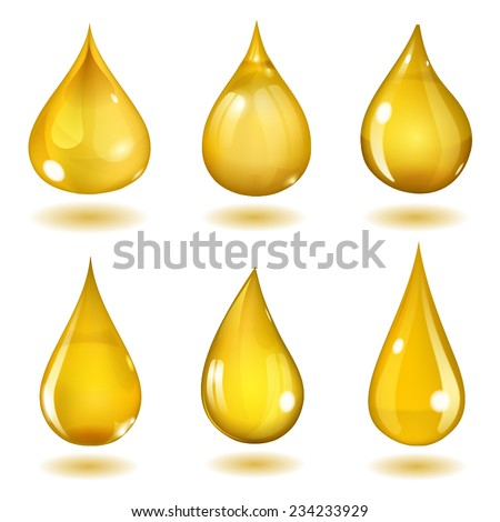 Set of six opaque drops of different forms in saturated yellow colors - stock vector