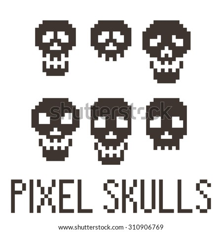 Set of six pixel skulls. Vector.