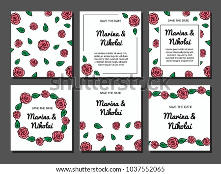 set of six postcards, invitation for a wedding, brochure design, cards with flowers. Red roses with a black stroke
